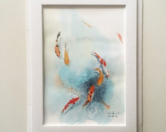 "Original watercolor,fish koi,pond,original painting,7""x10"",home decor"