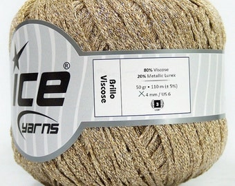 Brillo Viscose Gold Cream Yarn Knitting Crochetting by Ice Yarns 50gr 110m Blouse, Bikini, Short, Headband