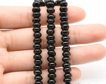 Black agate beads, 4x6mm roundel, natural stone beads, A grade onyx gemstone beads, loose smooth agate strands for necklace making, ONX3120