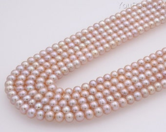 Ladies lavender off round 6.5-7mm cultured freshwater AAA pearls, blemish free thick nacre pearl beads, full strand, light lavender FR360-LS