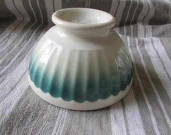 Sweetest Petite antique French child's Cafe au Lait Bowl PorcelainArt Deco dip dyed Fan decoration made by St Amand