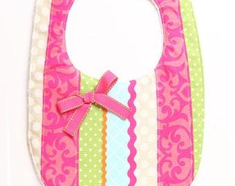 Girly Baby/Toddler Bib with Ribbon Embellishment