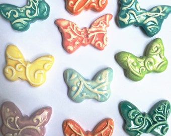 10 Handmade Butterflies In Mixed Colors That Can Be Used In Mosaic And Other Mixed Media Projects