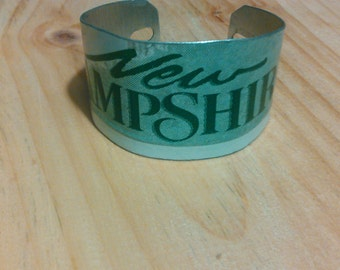 New Hampshire license plate cuff bracelets