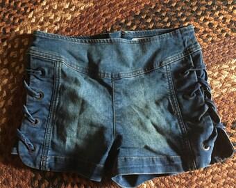 FP denim lace up side shorts