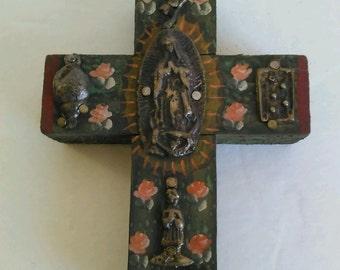 Virgen de Guadalupe Mexican Folk Art Cross