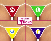 MARIO Nintendo Underwear Set or Single Thongs - Red Mario M - Green Luigi L - Yellow Wario W - Blue WaLuigi r Geeky Gamer Super Nintendo Wii