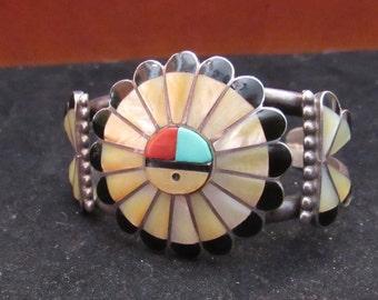 Sterling Silver Zuni Onyx MOP Turquoise Cuff Bracelet (0002)