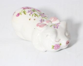 Porcelain 1978 Avon Porcelain Sachet, Potpourri Holder, Ceramic Pig, Vintage Floral Figurine by Ceramarte, Brazil