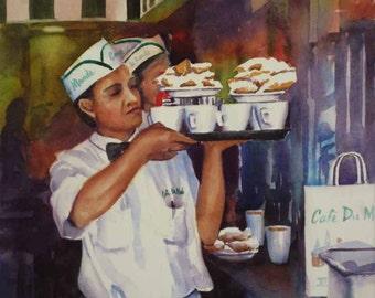 Cafe du Monde cafe au lait, beignets New Orleans French Quarter print of watercolor painting