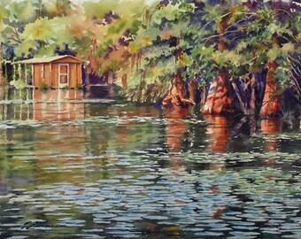 landscape art, river scene, cypress trees, houseboat, watercolor art,  print