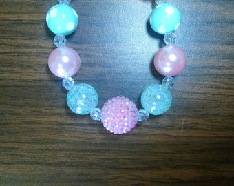 Pink and Mint Everyday Toddler Bubblegum Necklace