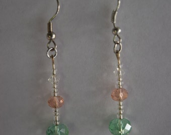 Green and pink crystal drop earrings