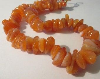 "Natural Orange Carnelian Gemstone Chips Beaded Choker Necklace, 18"""
