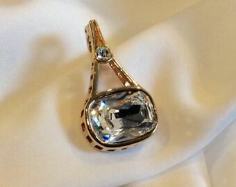 Sparkling Vintage Swarovski Pendant. Paris Eiffel Tower Likeness