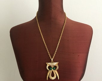 Golden Owl Pendant Necklace