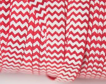 5/8 Red chevron Elastic, Red FOE elastic, elastic by the yard printed elastic, fold over elastic, foldover elastic, wholesale elastic, diy