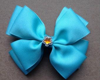 Blue Double Hair Bow