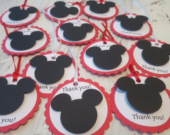 Mickey Mouse Favor Tags, FREE US SHIPPING, Set of 12, Mickey Mouse Gift Tags, Mickey Mouse Theme Party, Thank You Tags, Favor Tags