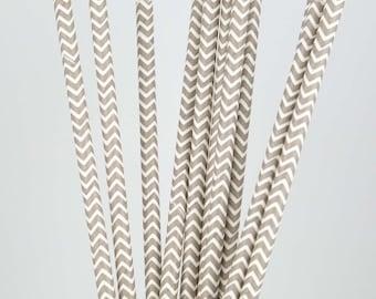 Gray & White Chevron Paper Straws