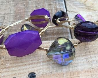 Purple wire wrap bracelets - various styles