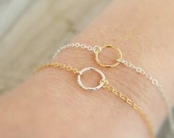 Mixed Metal Bracelet, Circle Bracelet, Infinity Bracelet, Eternity Bracelet, Simple Bracelet, Girlfriend Gift, Graduation Gift