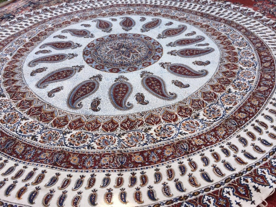 Extra large 82 inches round tablecloth , Handcrafted mandala cotton tapestry,  Paisley Block Printed with Natural dyes and tassels