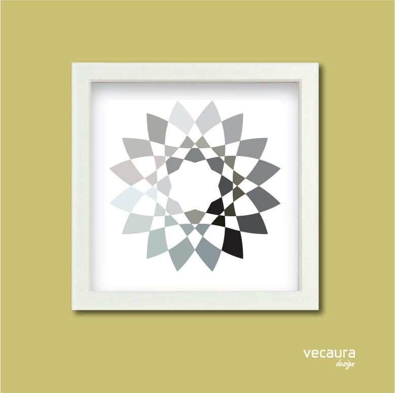 Grey Star Wall Decor : Grey star print wall art geometric pattern monochromatic