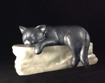 Ceramic Pet Cat on Rock Urn