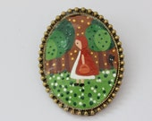 Little Red Riding Hood. Lovely Hand painted Cameo Brooch