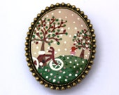 Bicycle Day Out Dream Brooch and Necklace. Lovely Vintage Hand Painted Cameo Brooch/Necklace Polymer Clay Jewelry Nickel Free Antique Bronze