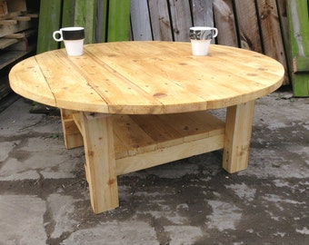 Round Coffee Table made with 100% recycled wood