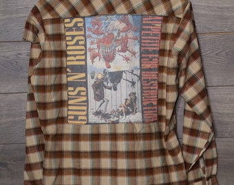 Brown Guns and Roses flannel