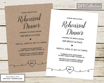 Rustic Rehearsal Dinner Invitation, Printable rehearsal dinner invite, kraft rehearsal dinner invite, Instant download, GD_WR101