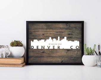 Denver City Art, coordinate art, house warming, newly weds, tourist, travel, traveler, gift, home decor, print, poster