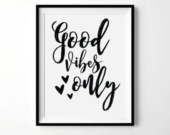 Good Vibes Only Print | Motivational print | Yoga Print | Inspirational quotes, Wall art prints | Digital Download