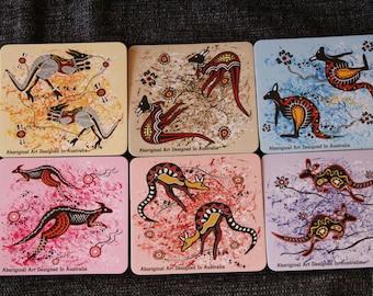 Set of 12 Australian Coasters, Aboriginal Art Kangaroo Coasters, Drink Coaster, Bar Decor, Home Decor, Table Decor, Collectible Coaster