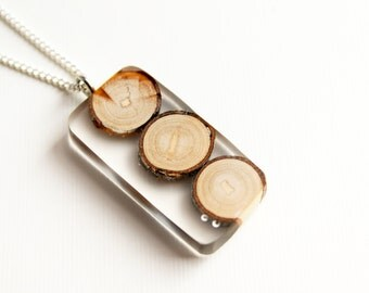 Clear Resin Wood Necklace, Resin Jewelry, Wood Jewelry, Resin Pendant, Handmade Necklace, Wood Pendant, Gift for her, Gift for Women, Epoxy