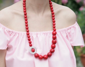 Long red necklace, Wooden Bead Necklace