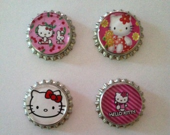 Hello Kitty Bottle Cap Magnets - Set of 4