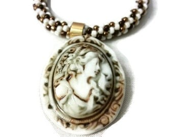 Vintage Style Cameo Pendant On A Kumihimo Necklace