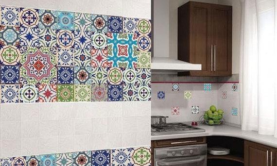 Vinyl stickers kleurrijke marokkaanse portugese tegels / set