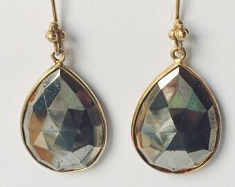 Pyrite drop earrings - Pyrite dangle earrings - Large