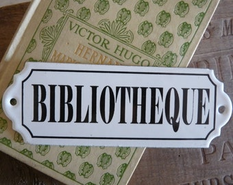 Vintage French enameled BIBLIOTHEQUE sign - Library door or bookcase sign -Plaque émaillée