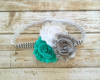 Shabby Flower Headband/Baby Headband/Infant Headband/Baby Girl Headband/Toddler Headband/Newborn Headband/Teal White Gray Headband/Headband