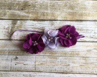 Purple Headband/Plum Headband/Baby Headband/Infant Headband/Baby Girl Headband/Toddler Headband/Children's Headband/Eggplant Headband