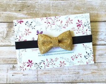 Gold Bow Headband, Black and Gold Headband, Baby Headband, Newborn Headband, Glitter Bow Headband, Infant Headband, Gold Glitter Bow, Baby