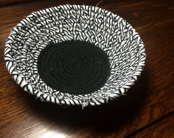 Black and white Coiled fabric basket