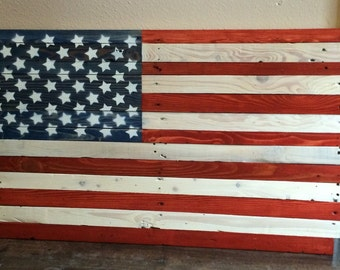 Reclaimed wood American Flag pallet wood