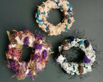 Handmade hair accessorie Chouchou / Scrunchy / Scrunchie, Bracelet made from wool Three designs SET